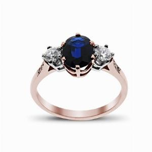 Sapphire & Diamond Rose Gold Three Stone Ring 8 x 6 mm